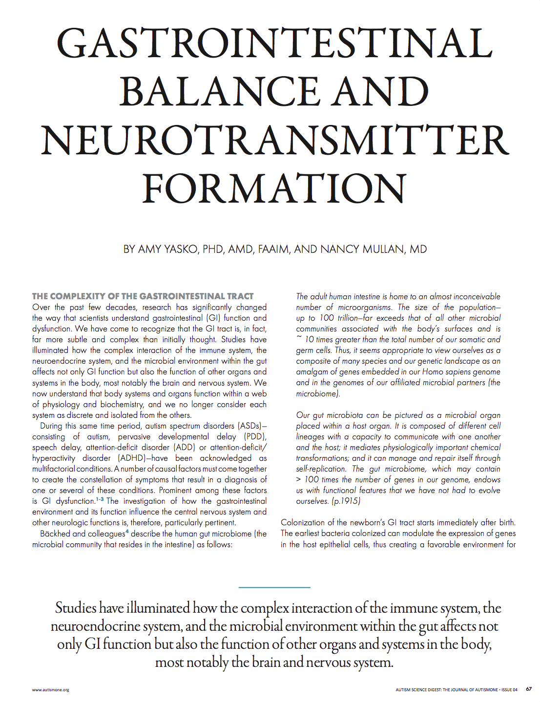Gastrointestinal Balance and Neurotransmitter Formation
